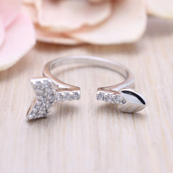 925 sterling silver cubic zirconia Open arrow stacking ring