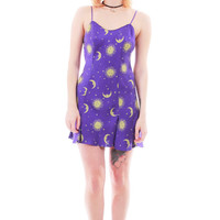 90s Vintage Silk Mini Dress Purple Stars Moon Print 1990's Club Kid Raver Festival Clothing Womens Size Small