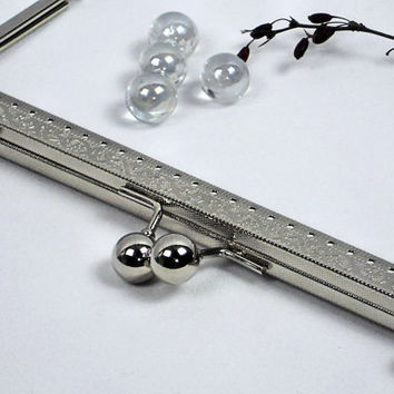 8 Inch Clutch Frame, 20cm Straight Channel Silver Embossed Sew-On Purse Frame, Bag Hardware @ MeiMei Supplies in USA