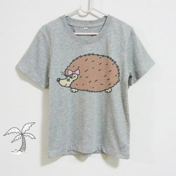 Hedgehog girl shirt infant shirts **toddlers tshirts**short sleeve kids boy girl youth clothes