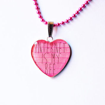 Internet Is My BFF On Pink Brick Wall - Handmade Heart Cameo Pendant Necklace - Nerd Gift Idea