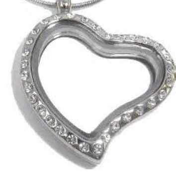 Floating Locket Crystal Heart Magnetic Include Free Chain