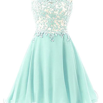 Light Green Off The Shoulder Lace Beads Homecoming Dress