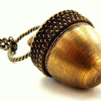 Acorn Necklace - An Acorn with a Secret  Fall Fashion - Capsule Container  Pendant Necklace - by Gwen DELICIOUS Jewelry Design