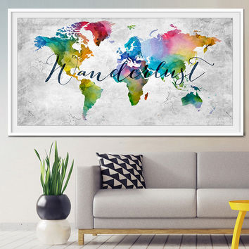 World Map Art Print, Watercolor Painting, Large Watercolor World Map, Watercolor map, Large Wall Art World Map, World Map Poster (L24)