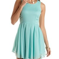 Pleated Chiffon Skater Dress by Charlotte Russe - Spearmint