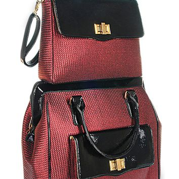 """THE KENSINGTON"" Red & Black 2 Piece Spinner Wheel Travel Set"