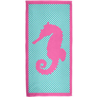 Pink Seahorse Polka Dot All Over Terry Cloth Towel