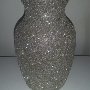 Silver vase wedding vase centerpiece event decor glitter vase party vase large silver vase table centerpiece glitter glamour vase sparkling