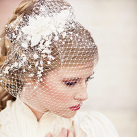 Birdcage Veil with Vintage Flower Spray Modern Veil Wedding Headpiece, Veil, Wedding Hair, Birdcage Bridal Veil, Floral Headpiece
