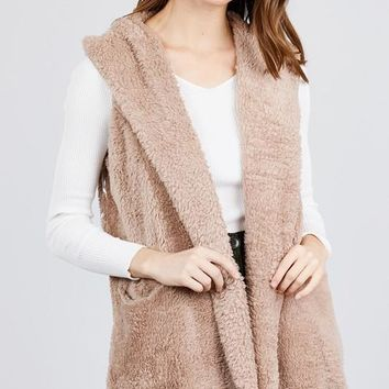Faux Fur Vest with Hoodie - New Taupe