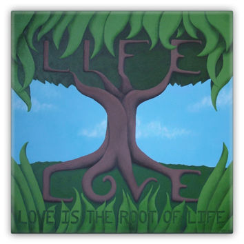 Love is the Root of Life - Metal Magnet of Acrylic Paint Fine Art