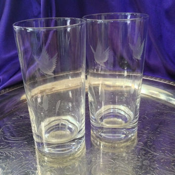 Two Highball Glasses Etched Ducks in Flight, Cattails, Clear Glass Vintage Mancave Barware, Sporty Hunting Theme, Nature Theme, Animal Theme