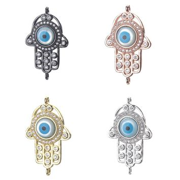 1pc 28*16mm Fashion Cubic Zirconia Hamsa Hand Evil Eye Charms Connectors For Women Diy Evil Eye Hamsa Hand Bracelet & Bangle
