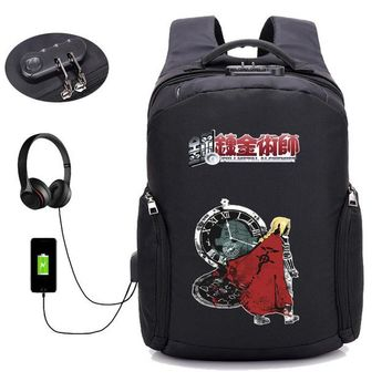 Anime Backpack School kawaii cute Fullmetal Alchemist backpack USB external hole men women Travel Bags boy girl Laptop Backpacks student book backpack AT_60_4