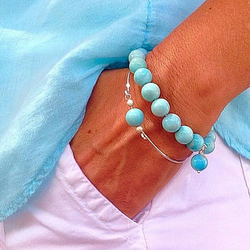 NEW,  Amazonite bangles, beadwork, amazonite jewelry, aqua bracelet, something blue, gemstone, blue, amazonite bracelet