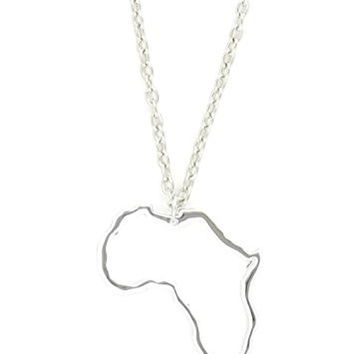 Africa Outline Necklace Silhouette Continent Pendant Silver Tone NQ08 Fashion Jewelry