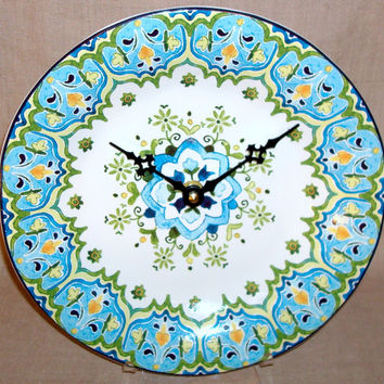 Trending Wall Clock, Turquoise and Lime Ceramic Plate Clock , Unique Wall Clock, Home Decor, Decor and Housewares, Home and Living No 1309