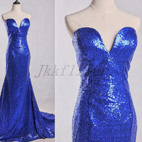Long Royal Blue Sequined Prom Dresses,Long Mermaid Sweetheart Prom Dresses,Sequined Bridesmaid Dresses,Homecoming Dresses