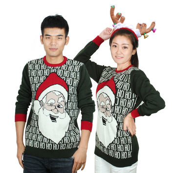 Unisex Christmas Cute Santa Claus HO Letters Sweater Pullover