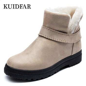 Women Boots 2018 Winter Boots Fashion Warm Snow Boots With Heels Women Winter Shoes Plus Size 35-44 Ankle Boots Women Booties