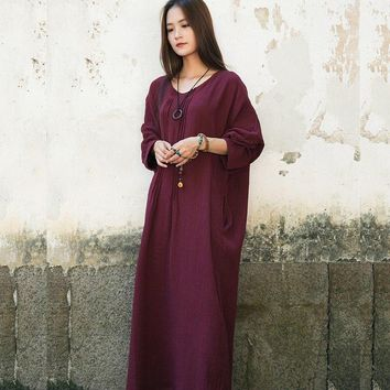 ORIGOODS Plus size Long sleeve Women Dress Vintage Solid V-neck Loose Long Dress Autumn Cotton Original Dress Robe Vestidos D059