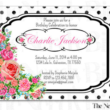Black Polka Dots and Flower Design Printable Birthday Invitation