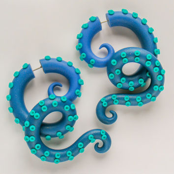 Tentacle Earrings, Fake Gauges, Ear Gauges, Tentacle Plugs, Octopus Gauges, Fake Plugs, Tentacle Gauge Earrings, Ear Plugs