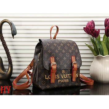 Louis Vuitton LV Women Leather Embroidery Backpack Daypack Bookbag