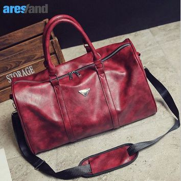ICIKHG7 Aresland Sports Bag Gym Bag for Women Men Red Black PU Leather Sport Bag Tote Duffle Travel Bag Large Space Waterproof Quality