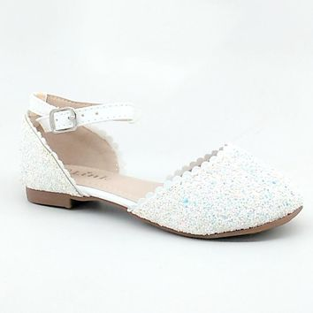 Girl's White Glitter Open Flat with Ankle Strap