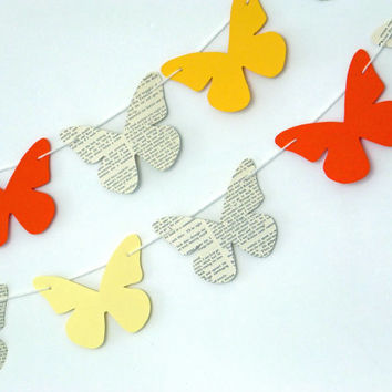 Bunting, butterfly bunting, Spring paper garland, orange and lemon butterflies, butterfly banner, garland, eco-friendly, Spring decor