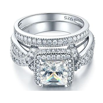 A Flawless 1.7CT Princess Cut Belgium Lab Diamond Bridal Set