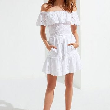 RAHI Off-The-Shoulder Eyelet Mini Dress | Urban Outfitters