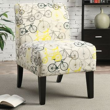 Ollano ii collection bicycles pattern fabric upholstered accent chair with wood legs