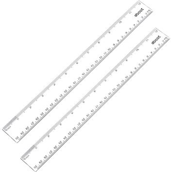 eBoot 12 Inches Plastic Ruler Straight Ruler Plastic Measuring Tool for Student School Office, Clear, 2 Pack
