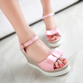 Bow Sandals Woven Wedges Platform Ankle Straps Women Shoes
