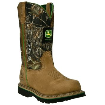 John Deere Men's 11 inch Mossy Oak Tan Steel Toe Work Boot
