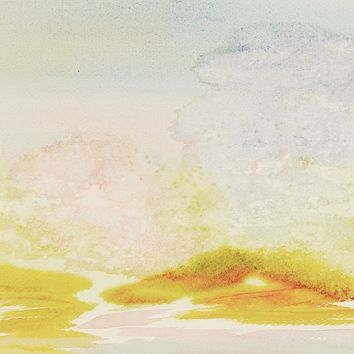 Cloudy Pastel Landscape 2 Sided Watercolor Paintings