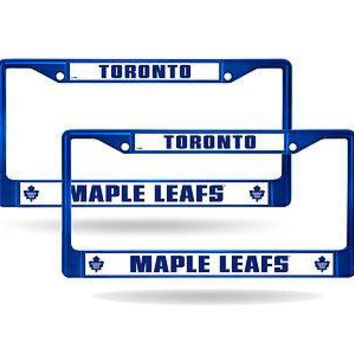 Toronto Maple Leafs Blue Painted Chrome Metal (2) License Plate Frame Set