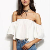 White Off The Shoulder Ruffle Crop Top -SheIn(Sheinside)