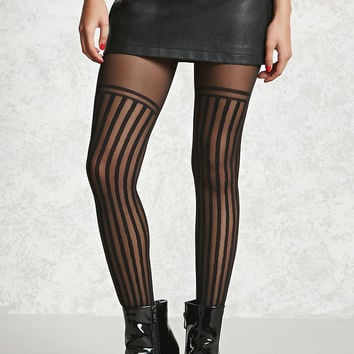 Semi-Sheer Striped Tights