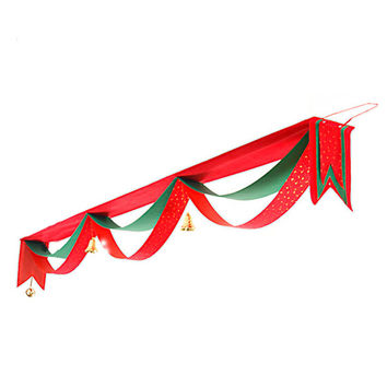 Red Scallop Layer Strap with Bell Christmas Decoration