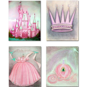 Princess Pink Wall Art for Girls Room Decor, Baby Girl Nursery, Princess Fairy Prints, Kids Nursery Decor, Children Wall Art, Princess Art
