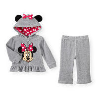 Disney Baby Girls 2 Piece Grey/Pink Velour Minnie Playwear Set with Zip Up Eared Hoodie and Pants - Toddler