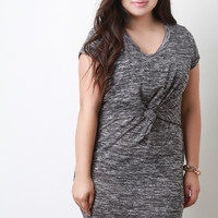 Marled Knit Tier Knotted Front Short Sleeves Bodycon Dress