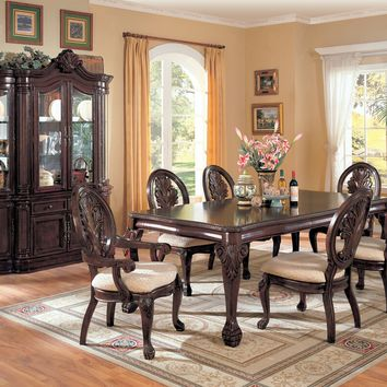 7 PC Saint Charles Deep Brown Wood Finish Dining Table with Double Pedestal Set