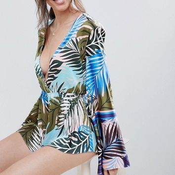 ASOS DESIGN Tropical Statement Sleeve Plunge Romper at asos.com
