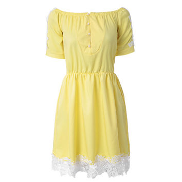 Yellow Summer Daytime Dress with Pearl Buttons and Lace