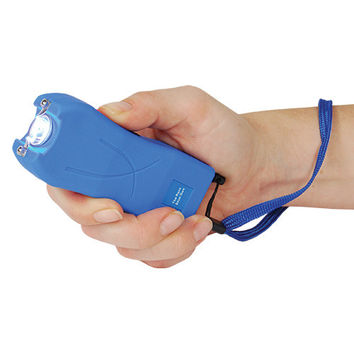 RUNT 20,000,000 volt Blue Stun Gun with a flashlight and wrist strap disable pin.